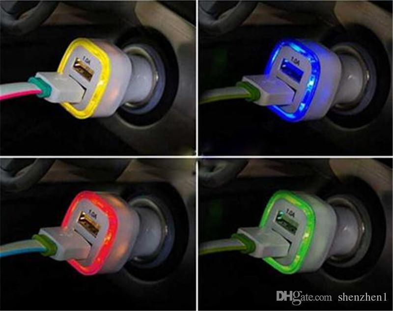 Rocket Design LED light 5v 2a Dual USB Car Charger adapter For iPhone 6 7 Samsung Universal coche de Cargador CAB161