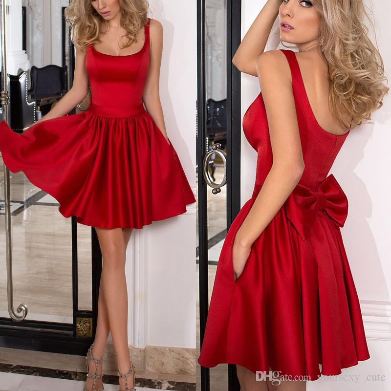 Simple Red Short Homecoming Dresses Square Neck Satin Backless Prom ... 1017e6df2716
