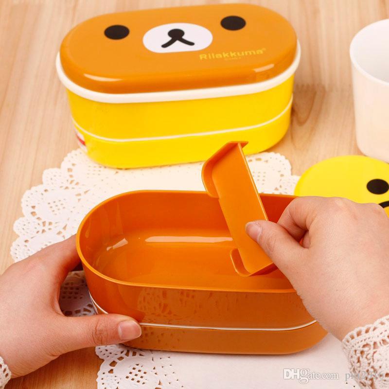 Горячая DHL 200 шт. / лот коричневый микроволновая печь Rilakkuma Бенто желтый микроволновая печь ноздри кур многослойные дети коробка обеда с палочками для еды