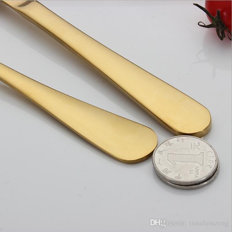 5 Farben High-Grade Goldbesteck Besteck Set Löffel Gabel Messer Teelöffel Edelstahlgeschirr Sets Küchentisch Set 10 Auswahlmöglichkeiten