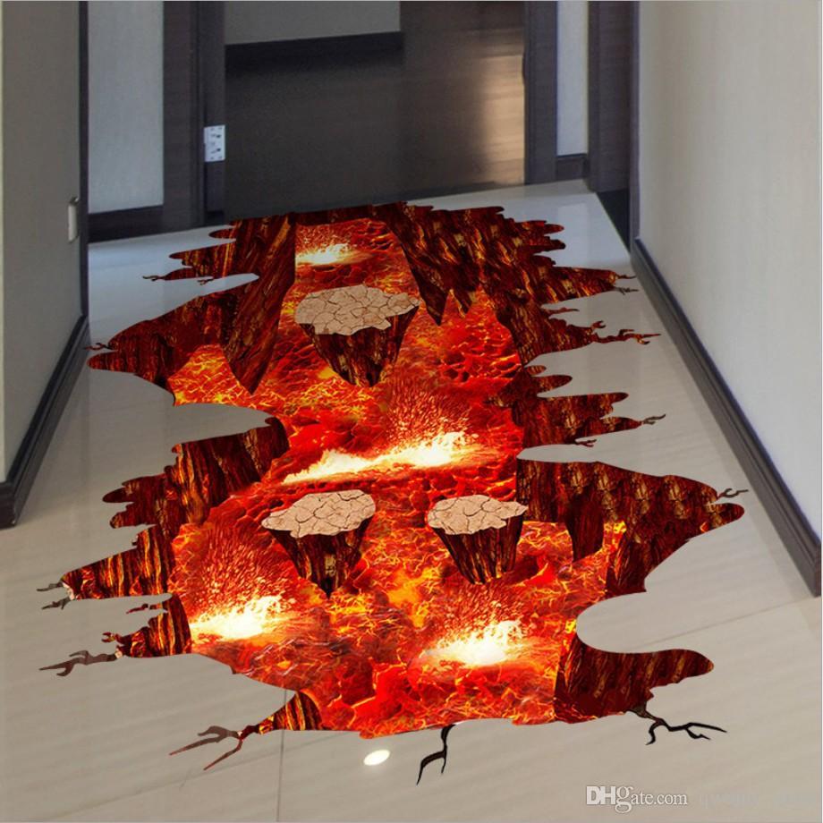 3d volcanic magma crack floor stickers diy removable pvc for Lava parquet