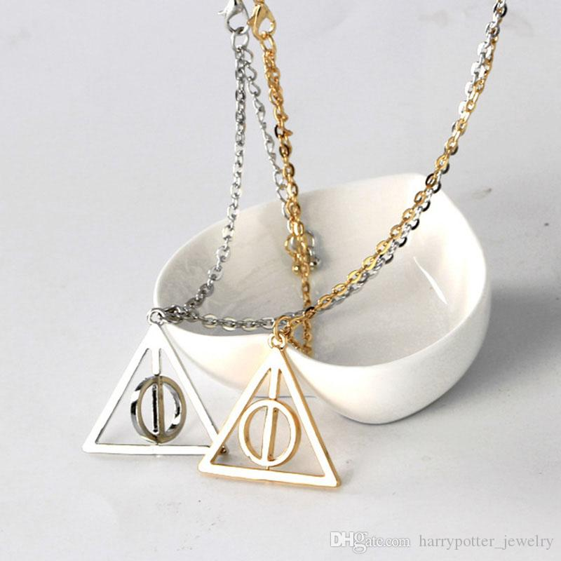 Silver gold rotatable Deathly Hallows Pendant Necklace rotatable Deathly Hallows jewelry for movie film fans Drop Ship 162224