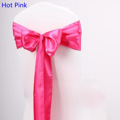 Hot Pink Colour satin sash chair high quality bow tie for chair covers sash party wedding hotel banquet home decoration wholesale