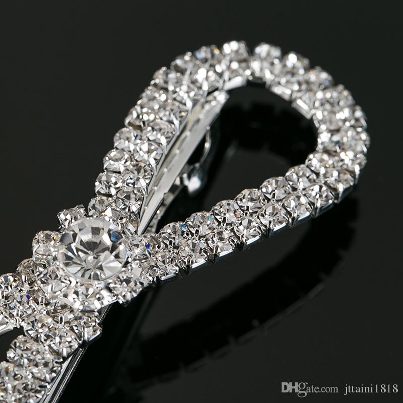 Fashion bowknot-liked silver plated Crystal Hair Clip Pins Wedding Decoration Bridal Head Jewelry Hair Accessories wear #H018