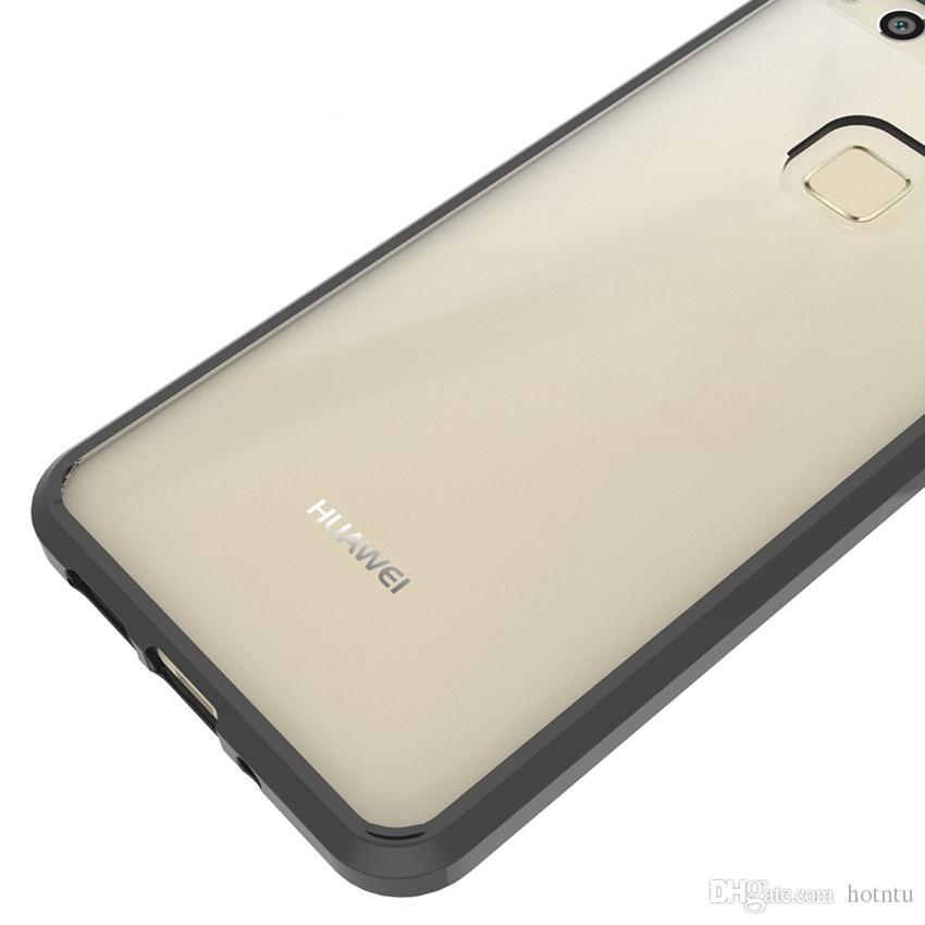 Pour Huawei P9 Lite Cas Coussin D'air Tech Soft TPU Bumper Clair Couverture Arrière Hybrid Armor Téléphone Cas Pour Huawei P10 Lite Plus