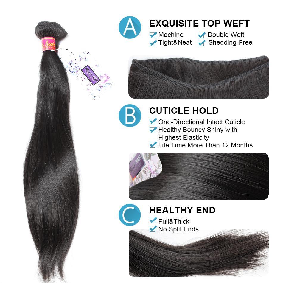 Brasilianska Virign Hår Peruvian Indian Malaysian European Kambodjanska Straight Weaves Human Hair Weft Extensions Bundlar Bella Hair