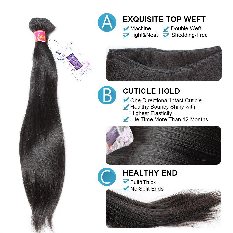 Cheap Brazilian Hair Peruvian Indian Malaysian European Cambodian Straight Weaves Human Hair Extensions Bella Hair Drop Shipping 7A