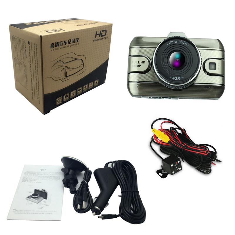 Original Dual Lens Car DVR Camera Full HD 1080P 170 Degree Registrator Recorder Backup Rearview Camera Loop Recording Dash Camera