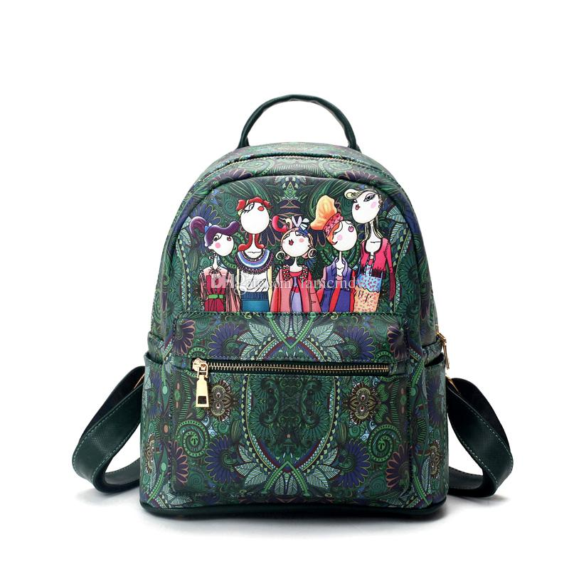 adc5c4efef86 Fairy Forest PU Backpack Style Girls Fashion Designer Backpacks Women  Leather Bags Green School Bags Kids Teenagers Rucksack Waterproof Backpack  Kids ...