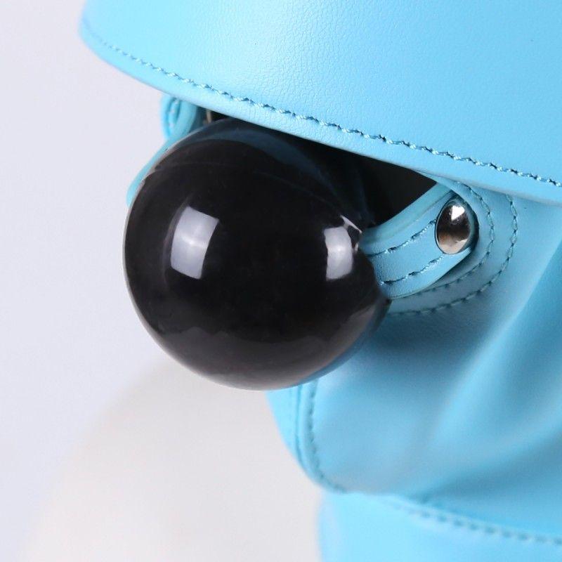 Искусственная кожа полная голова капюшон Маска синий съемный повязка на глаза повязка рот кляп маска с завязанными глазами рот кляп вилка отверстие глава капот