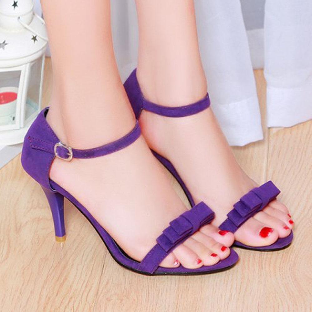 ce5e6f9daf75a Wholesale Women Sandals 2016 Summer Size 10 9 Ankle Strap High Heels Sandals  Shoes Woman Sandals Bow Ladies Sandals Purple Green Shoes 43 Wedge Sneakers  ...