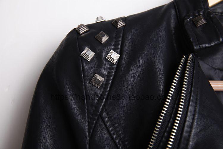 Wholesale-New Womens Punk Spike Studded Shoulder PU Leather Jacket Zipper Coat PIUS Size S-6XL
