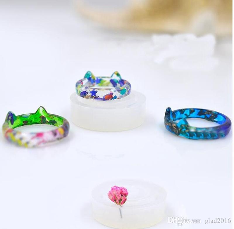 Transparent DIY Silicon Round Cat Shape Ring Mold Mould Jewelry Making Tools epoxy resin molds for jewelry