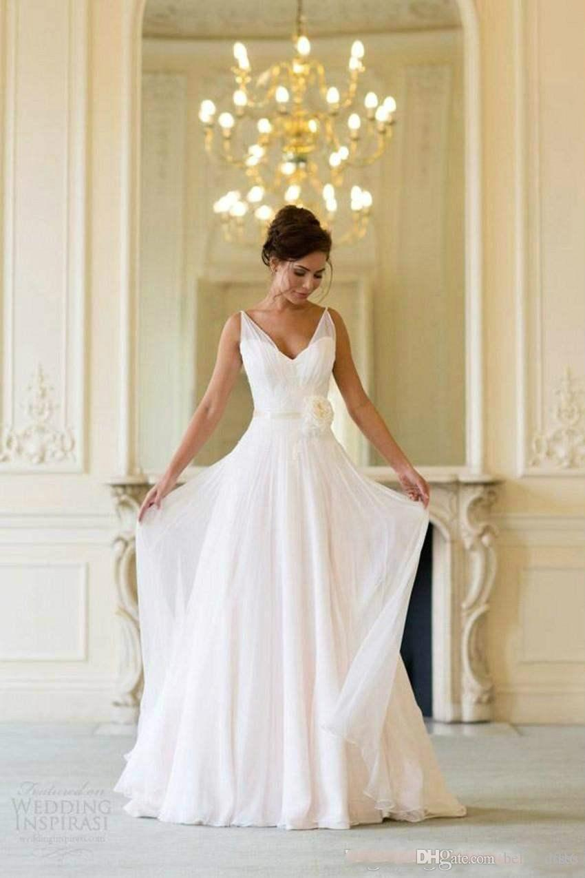 Discount Grecian Backless Beach Wedding Dresses V Neck Flowing