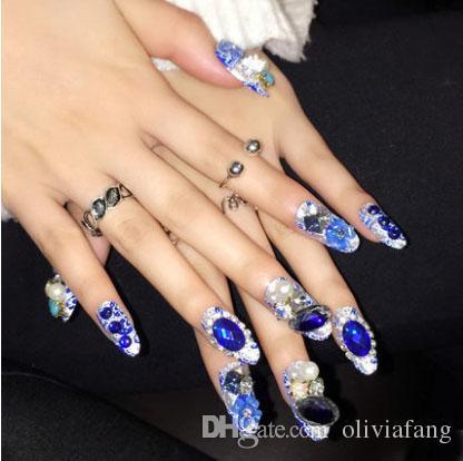 Super Beautiful Bride Nails Art Unique Design Fake Nail Tips 3d False Decoration Diamond Shining Full Cover Manicure Wholesale