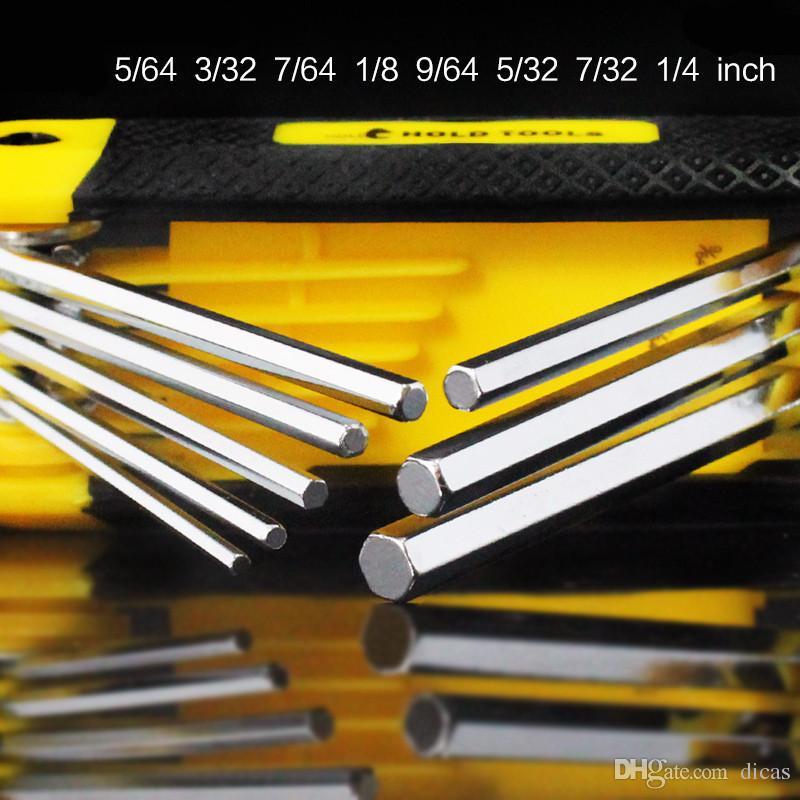 8 in one folding allen key hex wrench chromium vanadium alloy steel socket head spanner set imperial 1/4 to 5/32 inch