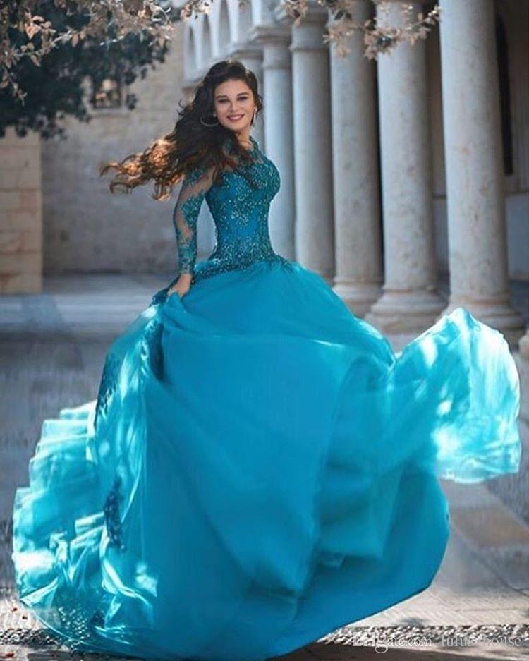 Kadınlar için 2017 Seksi Uzun Kollu Dantel Müslüman Abiye Parti Şifon Dubai Türk Arapça Örgün Kat Uzunluk Akşam Önlük Elbiseler