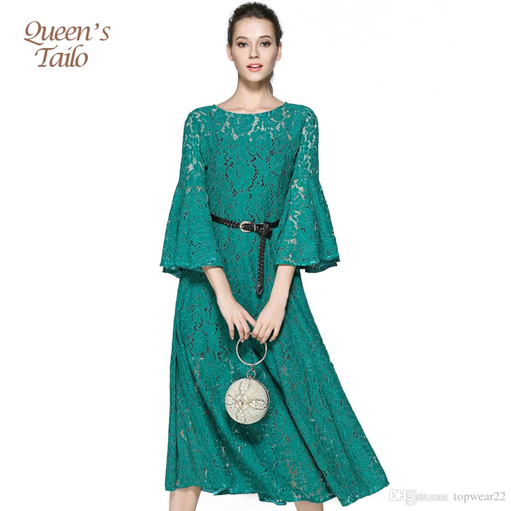 Lace A Line Dress Fashion Elegant Woman Hollow Out Flare Sleeve Slim ...