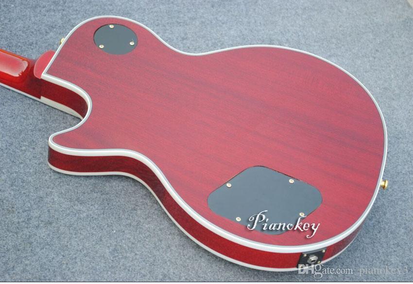 Şarap kırmızı kapitone üst özel elektro gitar, 100% maun ahşap, en iyi hediye, ücretsiz kargo gitar