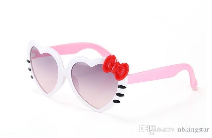 Fashion Cute Hello Kitty Sun Glasses For Kids Peach heart sunglasses Plastic Frame Sunglasses Girls Boys Baby Best Gift