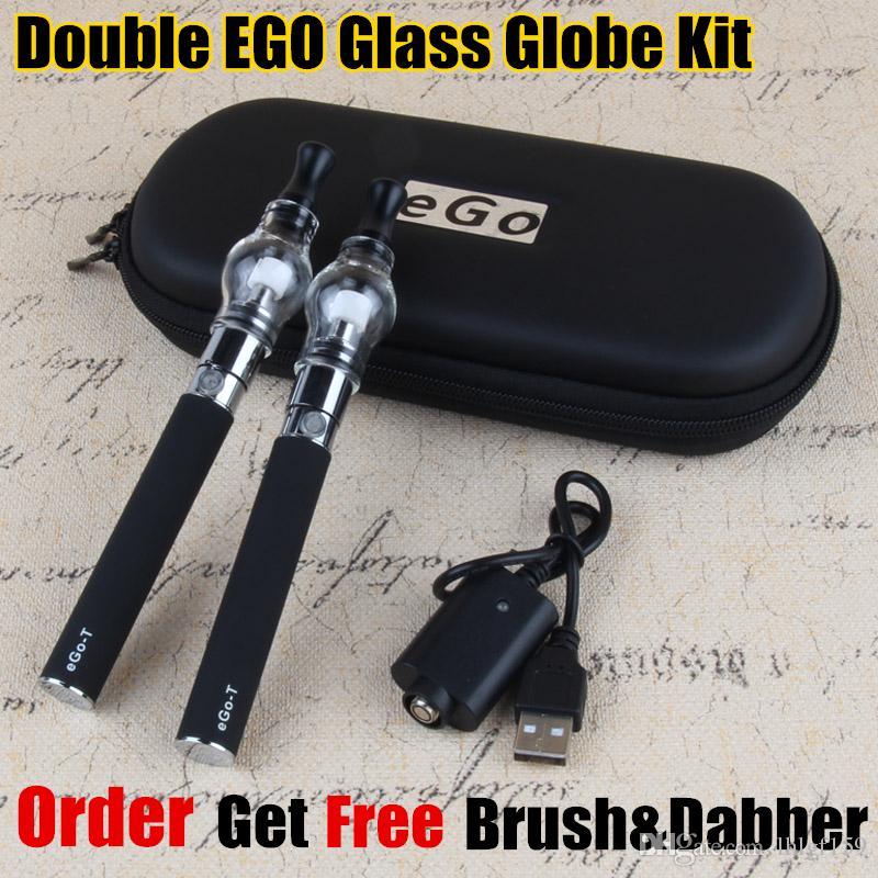 Dubbel Ego Glass Globe Dry Herb Vaporizer Kit 650MAH 900MAH 1100MAH Batteri Ego-T Starter Kits DAB Wax Vapes