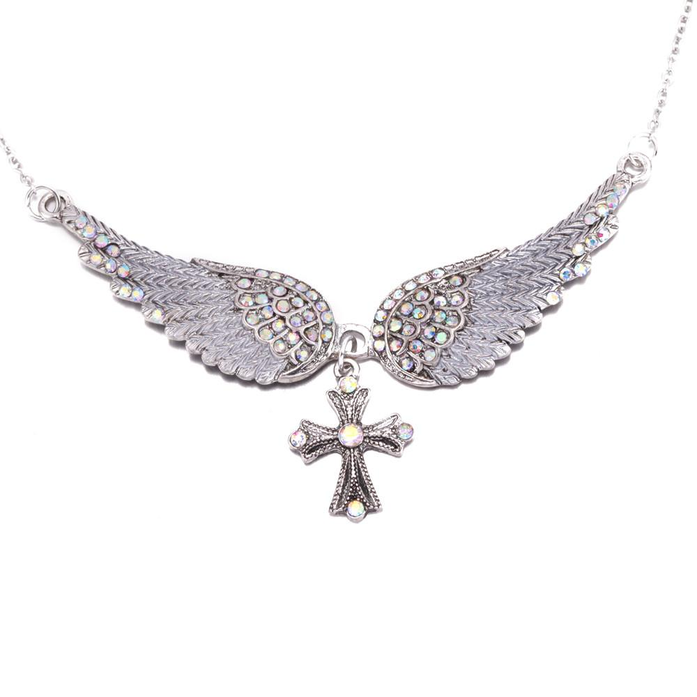 2018 wholesale eejart angel wing cross necklace women biker jewelry 2018 wholesale eejart angel wing cross necklace women biker jewelry gifts w crystal adjustable antique silver plated wholesale dropshipping from strips aloadofball Images