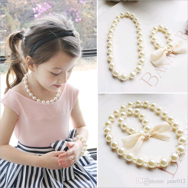 Großhandels koreanische Kinder Halskette Armband Set für Baby Mädchen übertrieben große Perlen Perlen Schmuck Set weiße Farbe