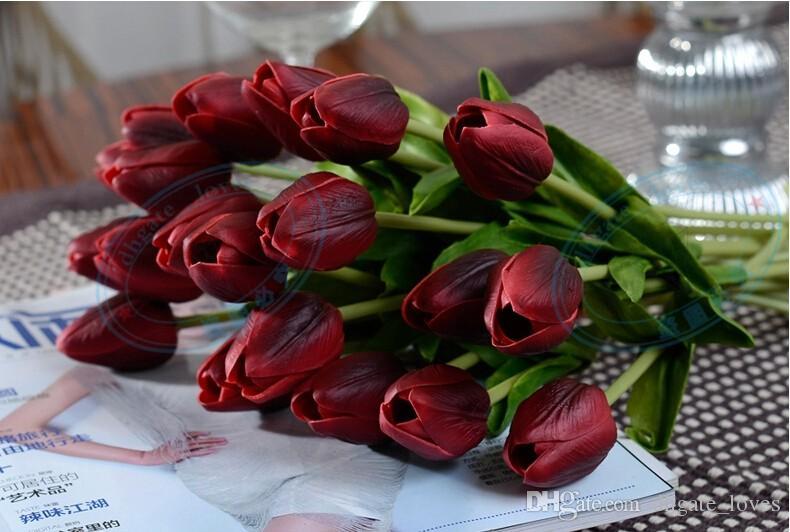 Tulipas de látex Artificial PU Flor bouquet Real toque flores Para Casa decoração de Casamento Flores Decorativas 11 Cores Opção