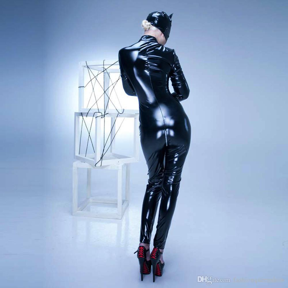Black Red Mask Glove Catsuit Women Sexy Bodysuit PVC Jumpsuit Catwoman Cosplay Costume Halloween Fancy Dress