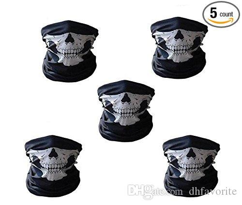 Motorcycle Cycling Scarf Half Face Mask Windproof Tribal Classic Skull Soft Polyester Facemask Headwear Warmer Cap Neck Ghost Multi Function
