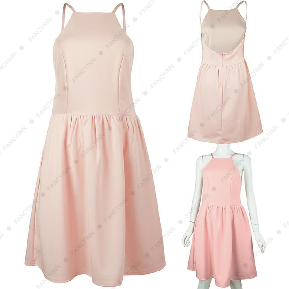 Women Lady Girls Summer Slim Casual Fashion Sleeveless Sling Dress Skirts Clothes Clothing 3045