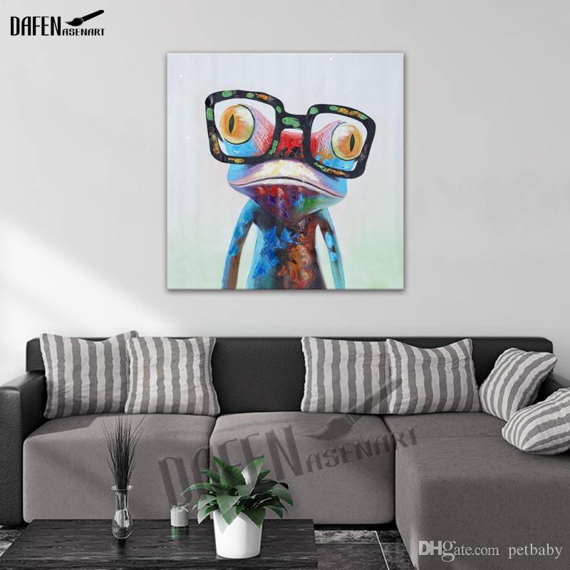 Szczęśliwa żaba noszenie okularów kreskówki zwierząt ręcznie malowane obraz olejny na płótnie nowoczesne abstrakcyjne ściany sztuki dekoracji sypialni
