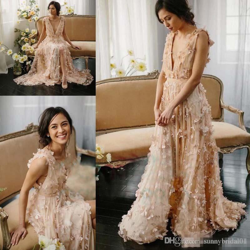 Boho Blush Pink Wedding Dresses 2017 Pretty 3d Flower Lace: Discount Romantic Blush Butterfly 3D Floral 2017 Bohemian