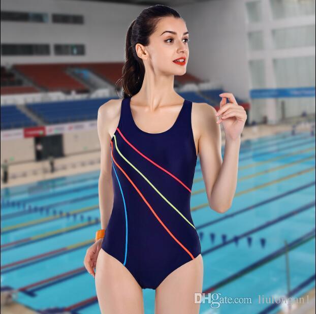 2017Hot Sale New Arrival One Piece Swimsuit Sports Bodysuits Swimwear Women Swimming Suits Striped Swim Wear Summer Bathing Suit