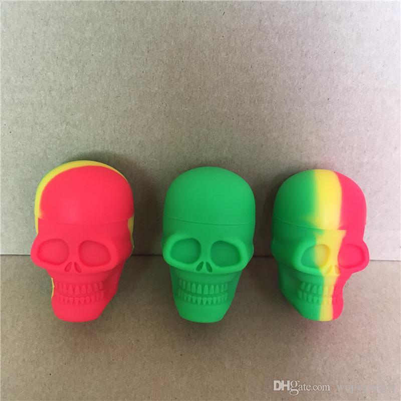 Conteneur au détail en silicone crâne 15 ml antiadhésive Jar Dab Stockage forme de crâne contenant Personnalisé Dab Outil Boîte de rangement livraison gratuite