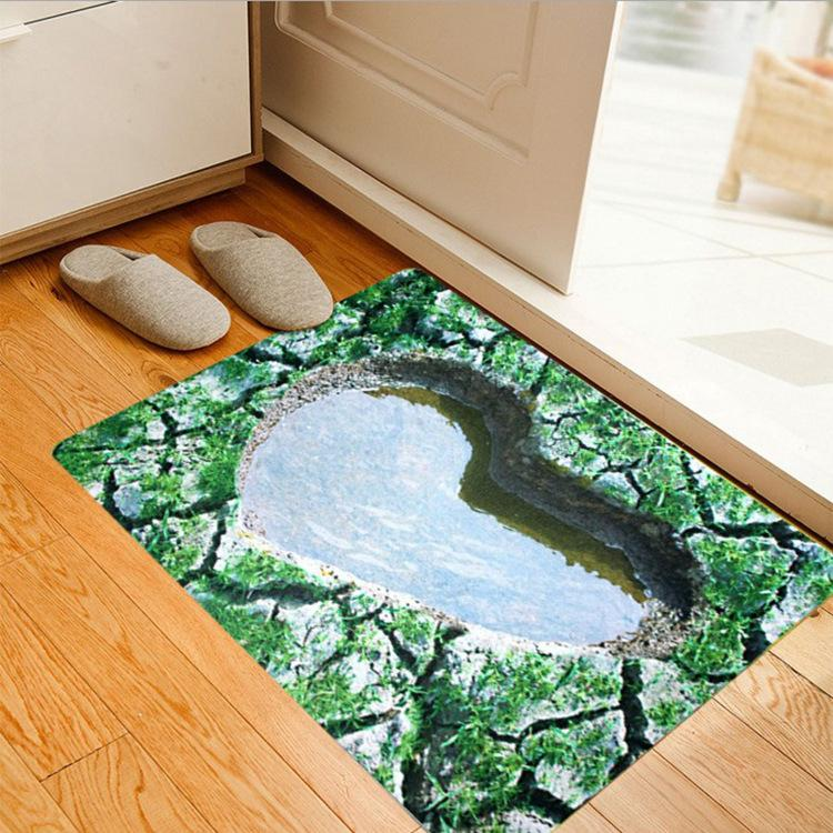 3d Pattern Area Rug Ultra Thin Door Mat Super Non Slip