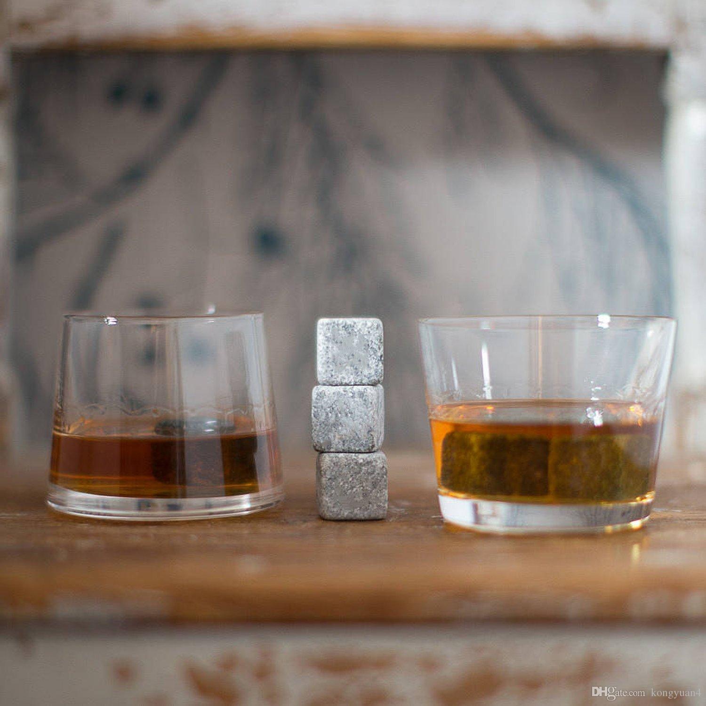 Whiskey Stones, Yummy Sam wiederverwendbare Eis Stein Chilling Rocks Würfel in Geschenk-Box mit Tragetasche, 9er Set für Whisky, Bourbon, Wein oder Ot