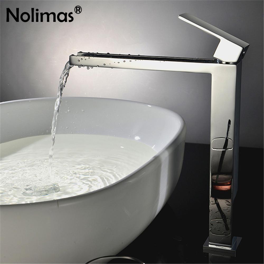 2018 New Arrivals Chrome Waterfall Faucet Tall Bathroom Faucet Brass ...