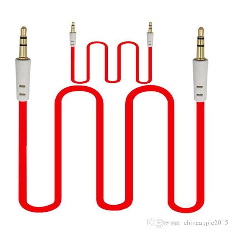 1 m plat nouilles Aux câble 3.5mm câbles auxiliaires audio Jack mâle à mâle voiture audio câble stéréo pour téléphone Iphone Ipod mp3 mp