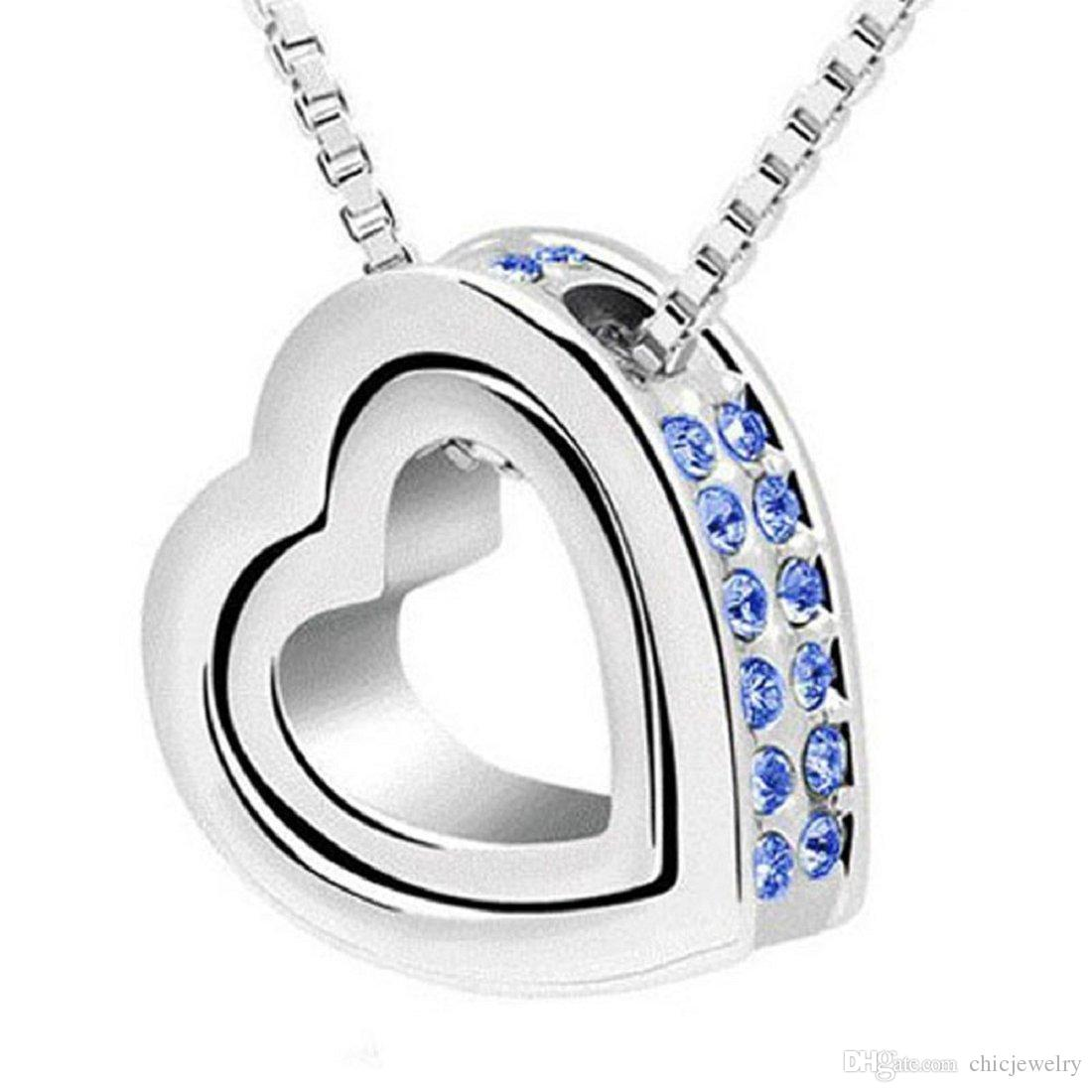Silver Plated Alloy Shining Crystal Chain Necklaces Double Love Heart Charm  Love Forever Statement Choker Pendant Necklaces Jewelry Free DHL Pendant ... 009acc66f56c