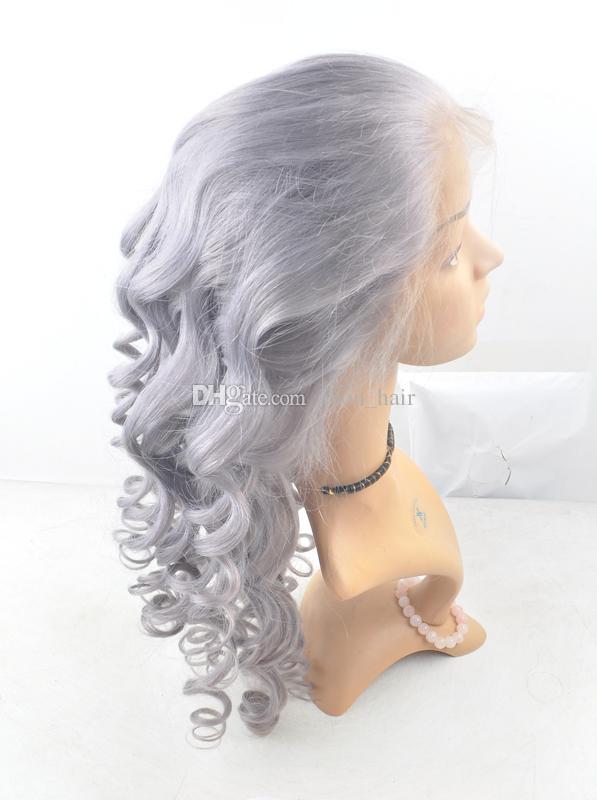 Liberi la parrucca del merletto umano vergine di colore puro di Slivery # Pure del merletto con i capelli del bambino Glueless parrucca piena del pizzo nodo candeggiato
