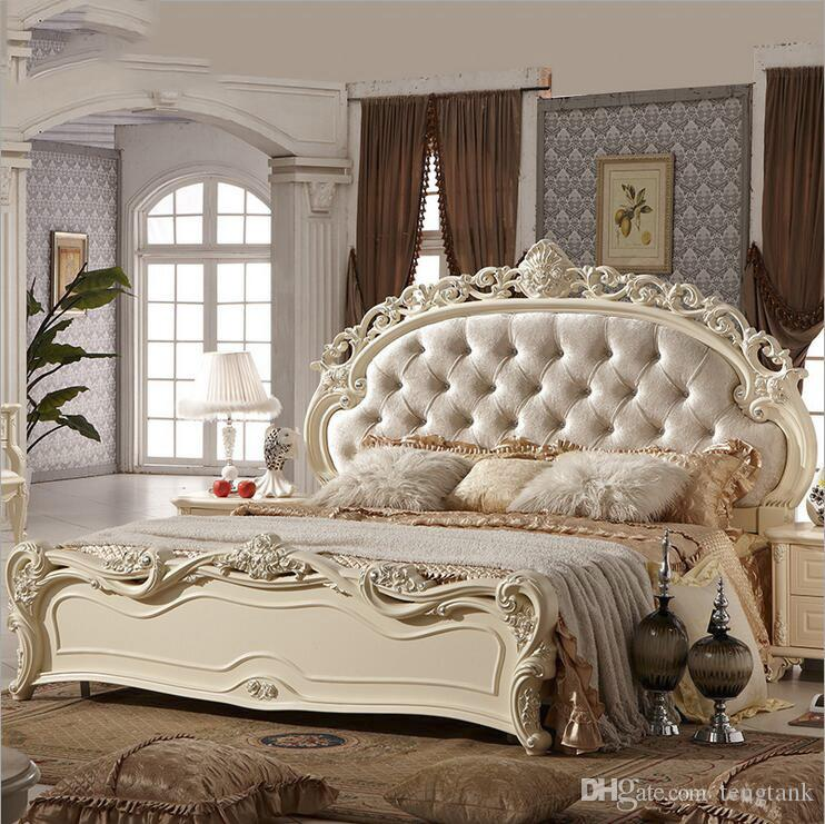 Buy Cheap Bedroom Furniture For Big Save Factory Price King Size Leather Modern European Solid Wood Bed Fashion Carved French 10151