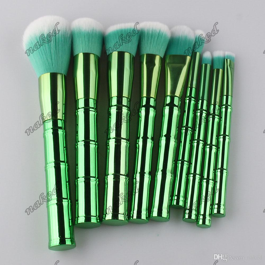 9pcs per set makeup brushes electroplated finishes bamboo shape plastic handle brush 4 color green,gold rose,slivery,golden new design