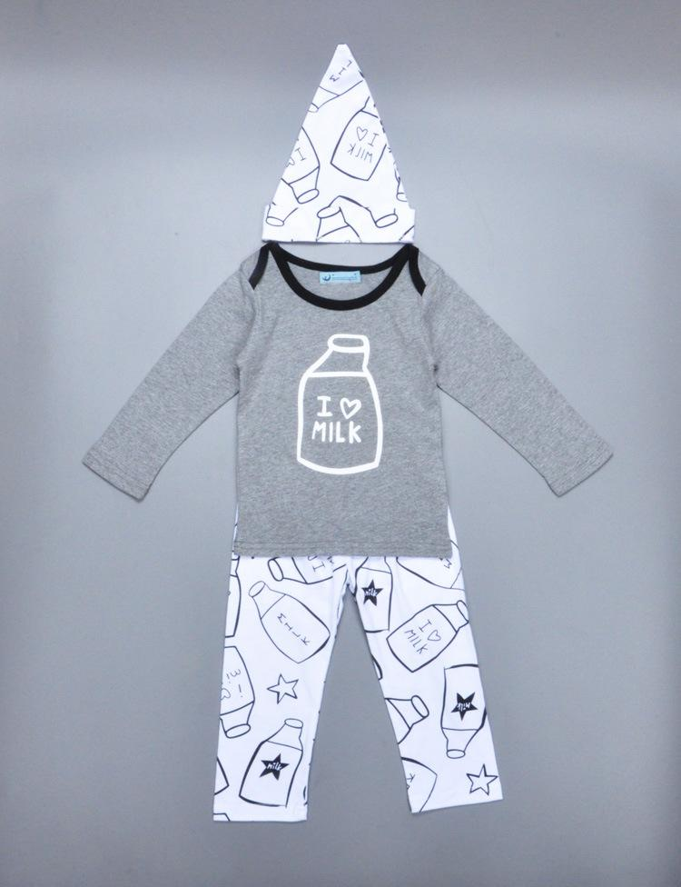 Baby Clothing Sets Milk bottle pattern 2016 Autumn Baby Clothes Long Sleeve T-shirt+Pants+Hats Suits Children Clothing