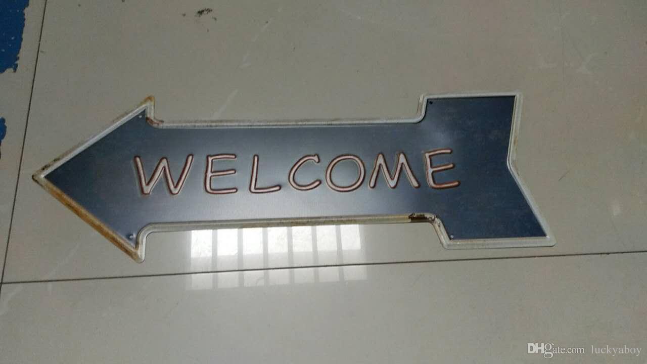 Salida Salir Bienvenido Bar Helado cerveza fría flecha direccional Carteles de chapa Retro Letrero de metal Pintura antigua Decoración Wall Cafe Pub Shop Restaurante