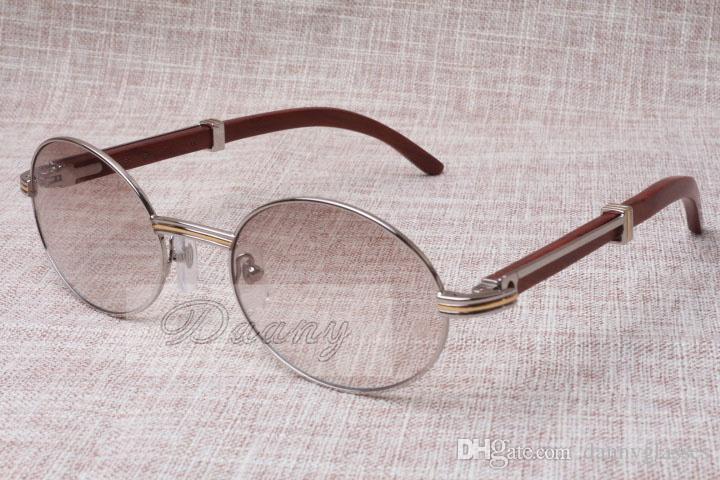Круглая Солнцезащитные очки Крупный рог Eyeglasses 7550178 Деревянные Мужчины и женщины Солнцезащитные очки Глазные Очки Размер: 55-22-135 мм