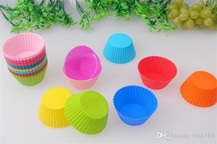 Yuvarlak şekil Silikon Muffin Cupcake Kalıp Bakeware Maker Kalıp Tepsi Pişirme Kupası Astar Pişirme Kalıpları B0105