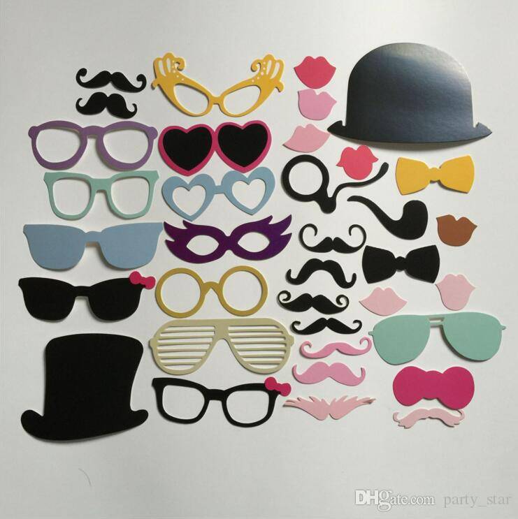 Handheld Photo Props Photo Beard Lips Bow Tie DIY Masks On A Stick Graduation Weeding Party Favor DIY Masks
