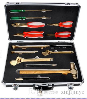 spark free combination tools set 18pcs for gas station, Explosion proof,  Aluminium bronze hand tool box