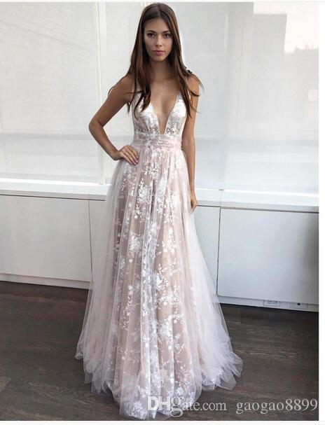 2017 Berta Lace Tulle Occasion Prom Party Dresses Deep V-neck Spaghetti Full length Modest Cheap Evening Formal Gowns